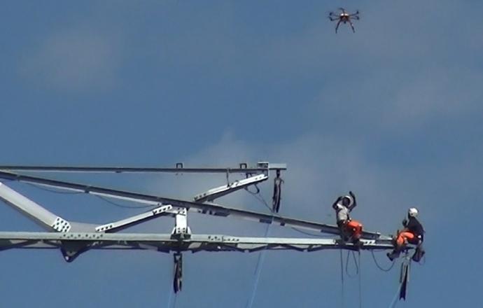 Pose de câble avec drone - Chantier 2Loire Bouygues Construction#4