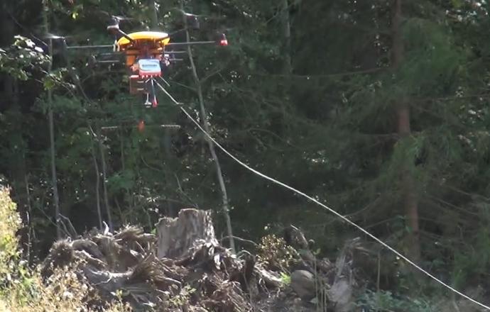 Pose de câble avec drone - Chantier 2Loire Bouygues Construction#1