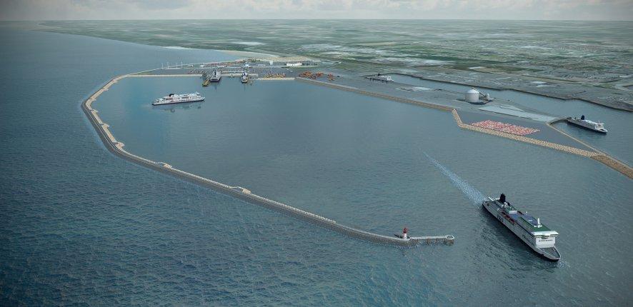 Extension du Port de Calais : pose de la 1ère pierre