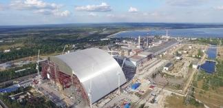 Chernobyl arch slides into place