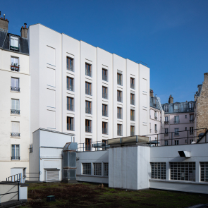 Elevated youth hostel in wood on Place de la Nation in Paris
